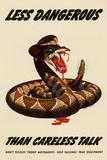 Less Dangerous Than Careless Talk Snake WWII War Propaganda Poster