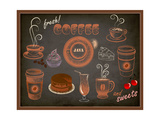 Buy Coffee And Sweets Ads - Blackboard With A Set Of Coffee And Sweets Advertisements at AllPosters.com