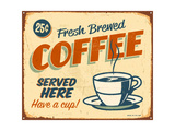 Buy Vintage Metal Sign - Fresh Brewed Coffee at AllPosters.com
