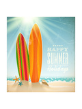 Buy Holidays Vintage Design - Surfboards On A Beach Against A Sunny Seascape at AllPosters.com