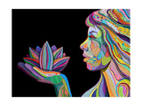 Woman Face With Multicolored Indian Pattern Holding Lotus Flower, Side View, Digital Painting Art Print