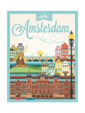 Retro Style Poster With Amsterdam Symbols And Landmarks
