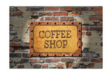 Buy Rusted Coffee Sign On 1890'S Brick Wall at AllPosters.com