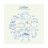 Buy Coffee Doodles - Squared Paper at AllPosters.com