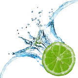 Fresh Lime Dropped Into Water With Splash Isolated On White Premium Poster