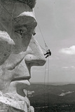 Mt Rushmore Scaling Lincoln's Nose Poster