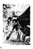 Batman: Batman Standing Heroically in the Rain - in Black and White
