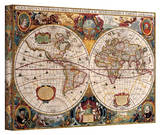 Henricus Hondius 'A New and Accurate Map of the World' Stretched Canvas Print
