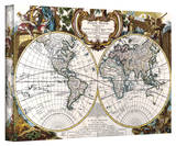 George Louis Le Rouge 'Double Hemisphere Map' Stretched Canvas Print