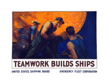World War II Propaganda Poster of a Team of Men Riveting the Hull of a Ship