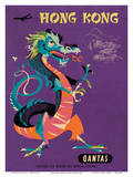 Hong Kong - Qantas Airways - Chinese Treasure Dragon Art Print