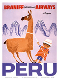 Peru - Braniff International Airways - Native Boy with Llama Art Print
