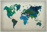 World Map Watercolor (Cool)