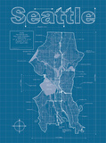 Buy Seattle Artistic Blueprint Map at AllPosters.com
