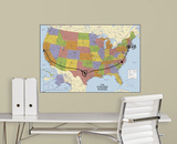 USA Map Dry Erase Peel and Stick Giant Wall Decal