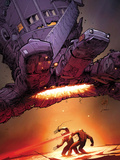 X-Men: Schism No.5 Cover: Wolverine and Cyclops Fighting with Sentinel Overhead