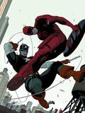 Daredevil No.2 Cover: Daredevil and Captain America Fighting