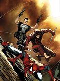 Avenging Spider-Man No.6 Cover: Spider-Man, Daredevil, and Punisher Jumping