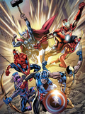 Avengers No.12.1 Cover: Captain America, Hawkeye, Wolverine, Spider-Man, Iron Man, and Others