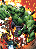 Avengers Assemble No.2 Cover: Hulk, Thor, Iron Man, Captain America, Hawkeye, and Black Widow