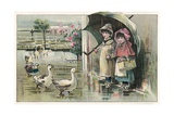 Victorian Postcard of Children Watching Ducks in the Rain