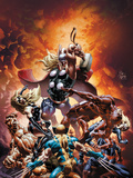 New Avengers No.21 Cover: Thor Fighting Wolverine, Ms. Marvel, Daredevil, Thing, and Spider-Man