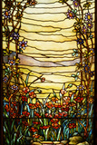 Tiffany Studios Leaded Glass Landscape Window