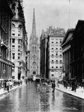 Wall Street and Trinity Church Spire, New York