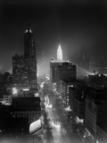 1950s Night Aerial Chicago Illinois Looking Down on Michigan Avenue