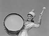 Buy Smiling Young Woman Band Uniform Carrying Playing Big Drum at AllPosters.com