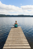 Woman Meditating on a Jetty, Lake Ianthe, West Coast, South Island, New Zealand, Pacific