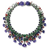Gemstone Necklace with Amethyst, Ruby, Emerald and Diamond
