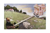 Buy Illustration of a Boy and a Girl on a Seesaw at AllPosters.com