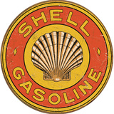Shell Gasoline 1920s Round Tin Sign Tin Sign