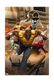 Mighty Avengers #1 Cover: Cage, Like, White Tiger, Spider-Man, Power Man, Spectrum