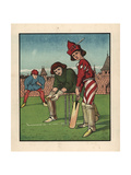 Medieval Youth at Bat in a Game of Cricket on a Green