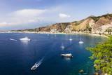 Buy Giardini Naxos Bay, Boats in the Harbor at Taormina, Sicily, Italy, Mediterranean, Europe at AllPosters.com