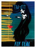 Tahiti - Fly Teal (Tasman Empire Airways Limited) Art Print
