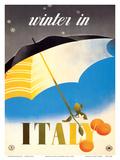 Winter in Italy - Italian Tarocco Blood Oranges under an Umbrella