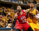 2014 NBA Playoffs Game 7: May 3, Atlanta Hawks vs Indiana Pacers - Mike Scott, Paul George Photographic Print
