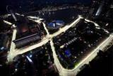Formula One Cars Race around the Singapore Grand Prix Circuit