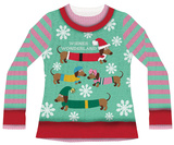 Womans Long Sleeve: Wiener Wonderland Ugly Xmas Sweater Costume Tee
