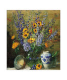 Delphiniums and Chinese Vase