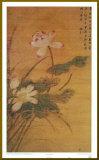 Fleurs de lotus sur fond doré