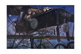 Buy With the French Air Service, a Night Bombardment by a Voisin Biplane, 1918 at AllPosters.com