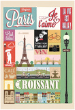 Typographical Retro Style Poster With Paris Symbols And Landmarks Poster