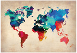 World Watercolor Map 1 Poster