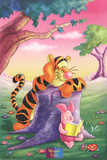 Tigger and Piglet Reading at Sunset