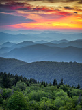 Blue Ridge Parkway Scenic Landscape Appalachian Mountains Ridges Sunset Layers