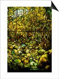 A Leaded Glass Window of a Woodland Scene